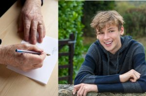 older hands writing letter and teenage boy smiling