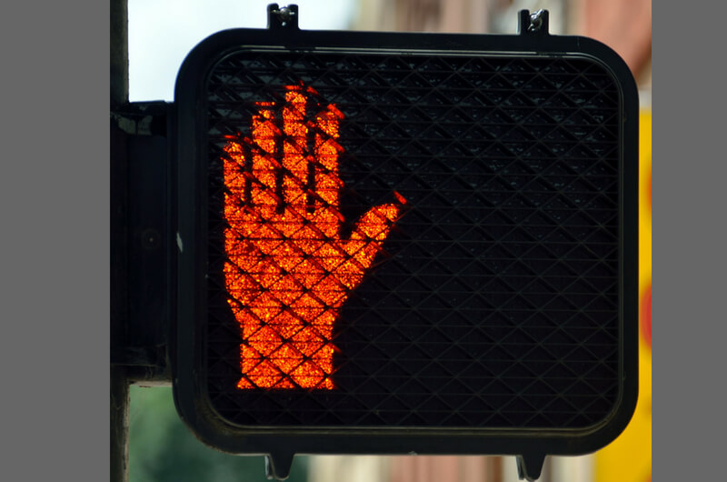 "Red Hand Traffic Light ""Wait"""