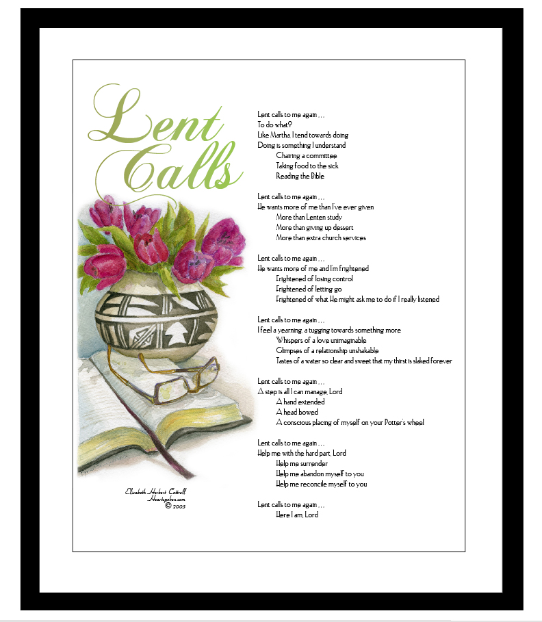 Lent Calls Poem with illustration and border