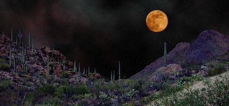 Photo of moon over desert by Henry Hazboun