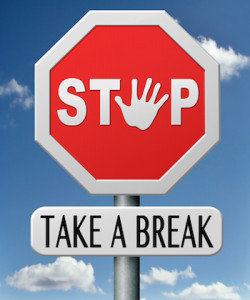 Stop Sign and Take A Break Sign