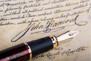 National handwriting day - pen and John Hancock signature