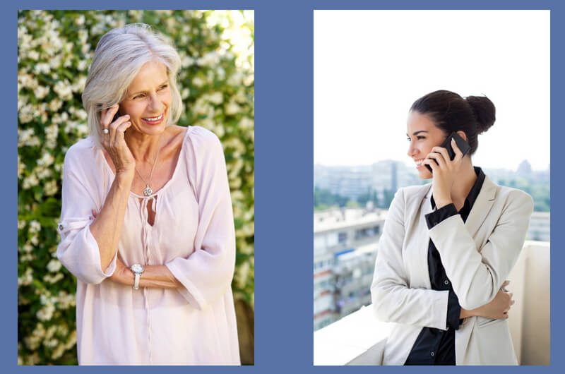 younger woman and older woman talking on phone