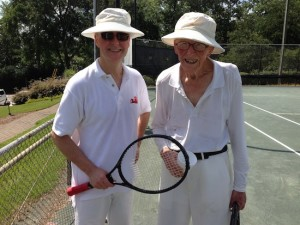 My brother & my 98-7ear old uncle on the tennis court