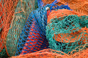 Multi colored fishing nets