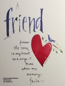 Greeting card about friendship designed by Kathy Davis