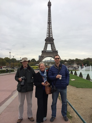 Author, husband, son at Eiffel Tower