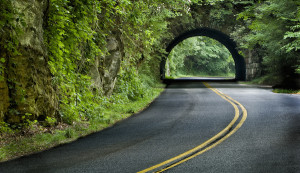 Winding Road and Tunnel in Smokey Mountains