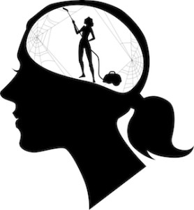 tiny woman with vacuum cleaning cobwebs inside a woman's head