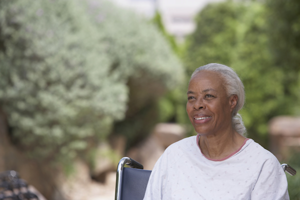 Black woman in wheelchair