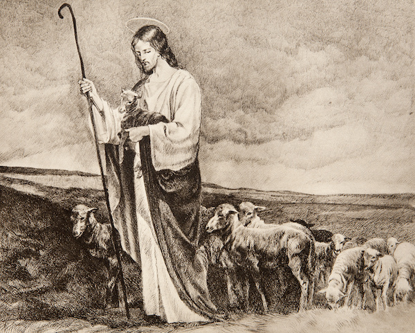 Old lithograph of Jesus, the Good Shepherd