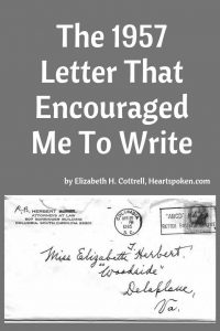 1957 Letter that encouraged me to write
