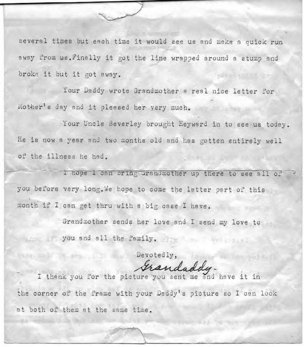 Page 2 of 1957 letter from author's grandfather