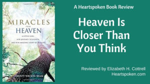 Book cover Miracles From Heaven with post title and author