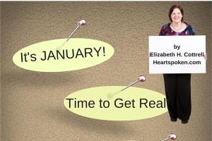 "Bulletin board with title ""It's January...Time to Get Real"""