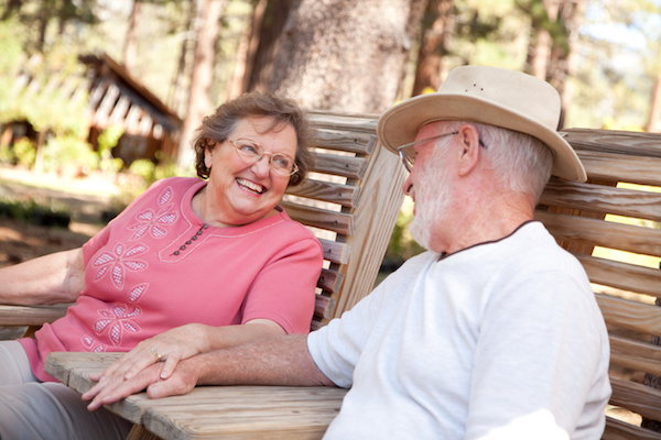 Senior Couple looking at each other with eyes of love