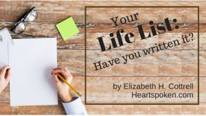 Hand writing Life List - blog title