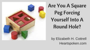 Square pegs, round holes child's game with post title