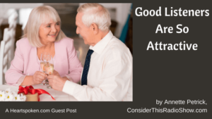 Older couple listening to each other and enjoying each other
