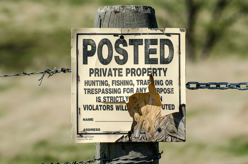 Private Property Sign - No Trespassing