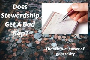 Stewardship, giving, generosity - a hand writes a check