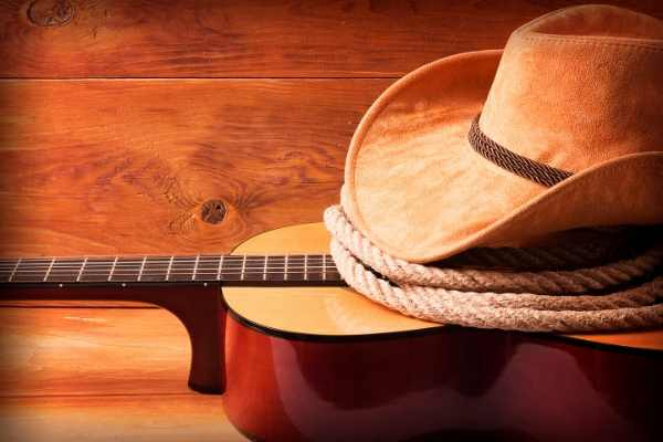 Country music guitar, rope, cowboy hat