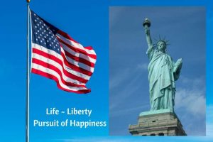Independence Day: Flag and Statue of Liberty